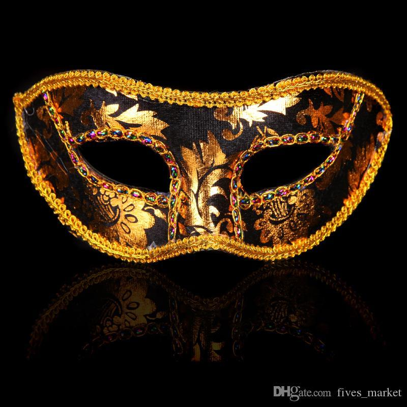 Half Face Mask Halloween Masquerade For Adult Children Venice Sequin Lace Bright Cloth Mask Party Festival Christmas Mask DHL FHH7-1497