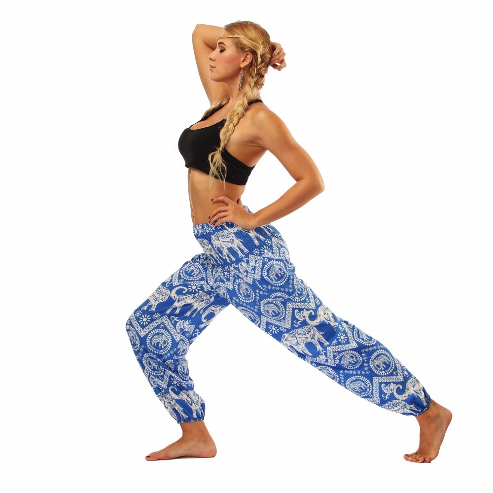 TL009- blue and white elephant wide leg loose yoga pant leggings (4)