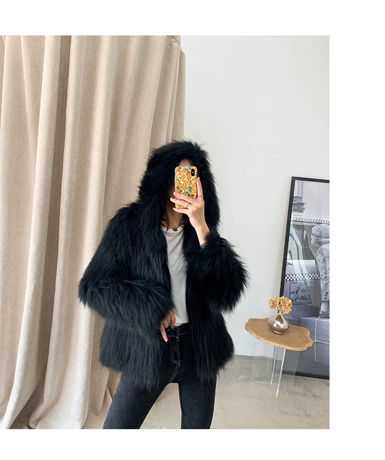 real knitted fur jacket with hoody women