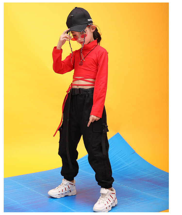 Kids Hip Hop Clothing High Neck Sweatshirt Shirt Top Crop Black Running Casual Pants for Girl Jazz Dance Costume Dancing Clothes (15)