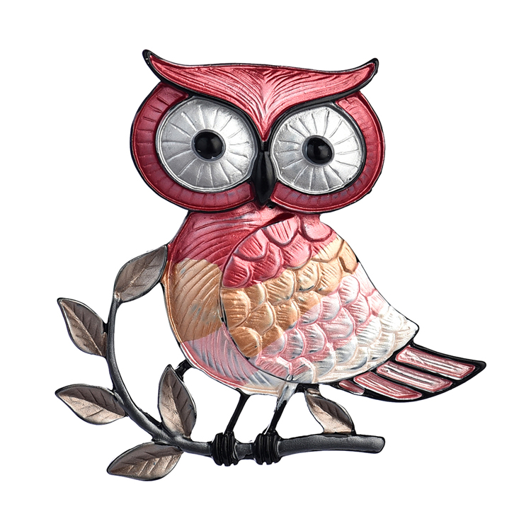 Magnetic Red Owl Brooch Badges Woman Zinc Alloy Enamel Animal Bird Brooches Pins Jewelry Clothing Pin for Women Accessories