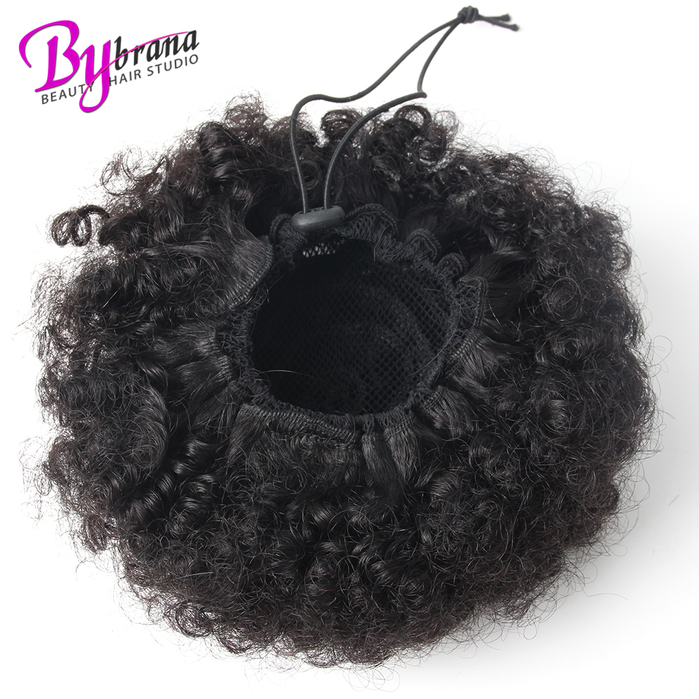 Afro Kinky Curly Ponytail Chignon For Women Natural Black Remy Hair Clip In Ponytails Drawstring 100% Human Hair Extension 1 PCS (10)