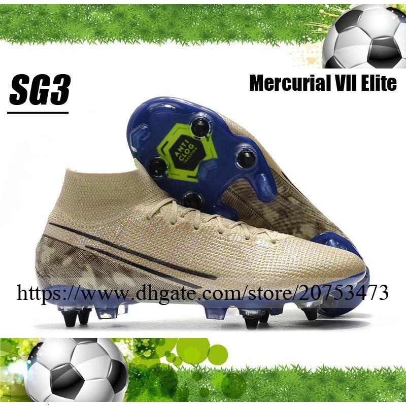 Mercurial Superfly VII Elite SG Spikes Mens Football Shoes Soccer Cleats High Ankle Outdoor CR7 Ronaldo Neymar JR ACC Socks Football Boots