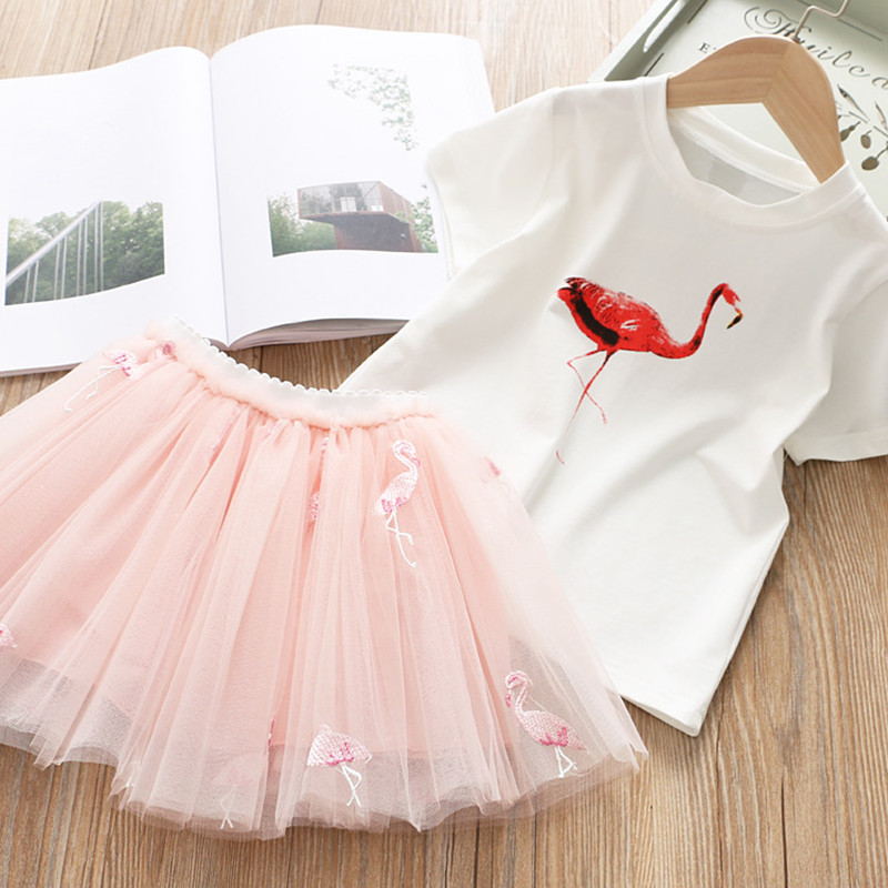 2019 Summer Girl Clothing Sets Kids Embroidered Cartoon Unicorn T-shirt And Rainbow Skirt Suit Fashion Baby Girls Clothes Set (2)