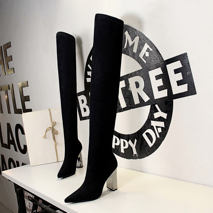 2021 Faux suede Super High heels Women thigh high boots Elegant thin heeled Stretch Over the knee boots Autumn Winter Long boots