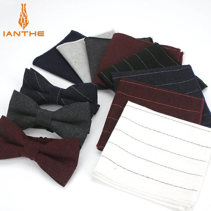 WOXHY Business Wedding Party Hombre Tie Set Flower Dot Ties for Men Bow Tie and Handkerchief Bowtie Cufflinks 8cm Necktie