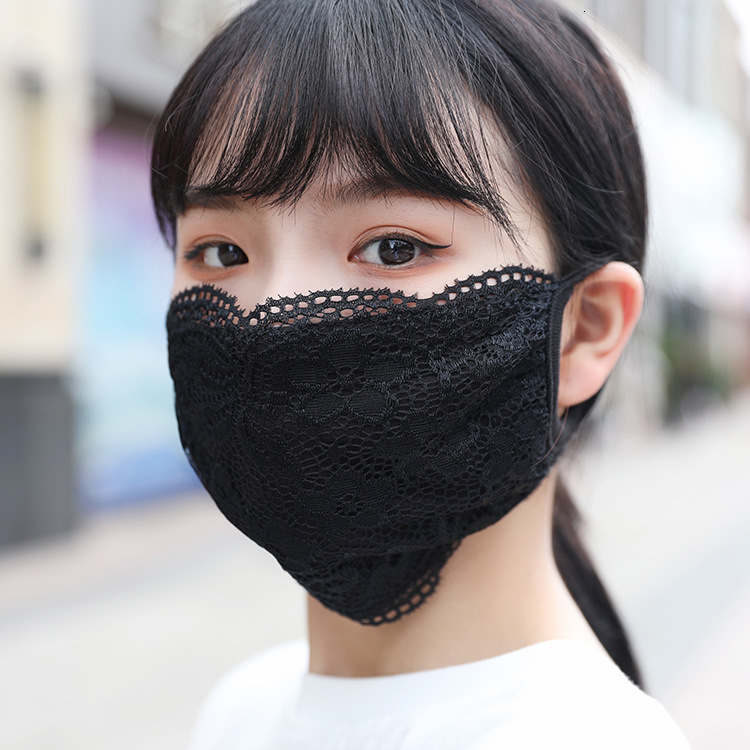 In Stock Fashion Embroidery Lace Face Mask Adult Comfortable Washable Mouth Face Cover Fashion Girl Black/White Party Masks Masque FY9074