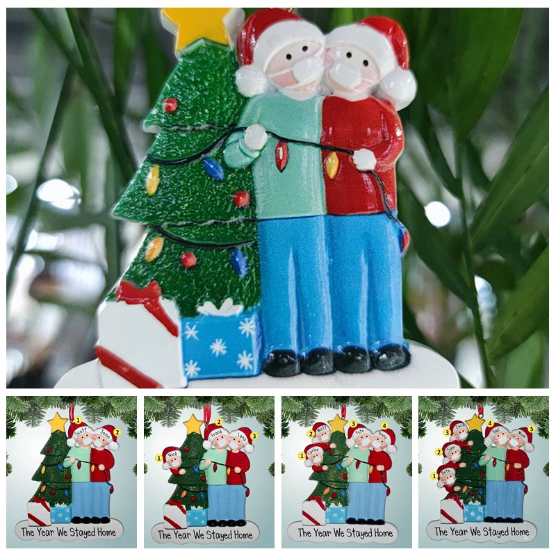 2020 Quarantine Christmas Ornament 4 Styles Resin Mask Snowman Xmas Tree Hanging Pendant Christmas Decorations CCA12538