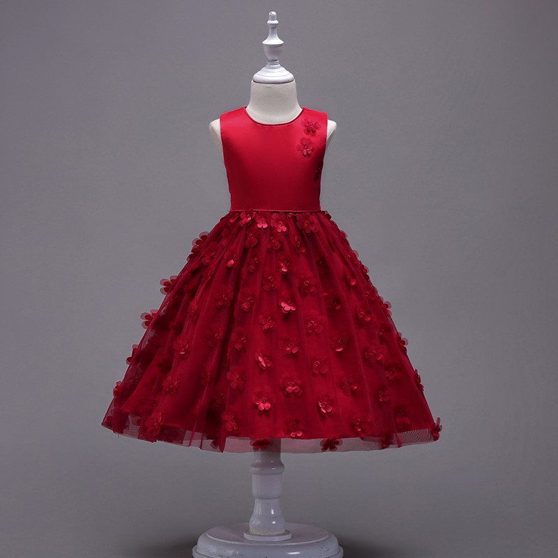 2019 Fashion Children Dresses For Girl Clothes Elegant Fower Girls Dress Kids Princess Birthday Applique Prom Designs Ball Gown (8)