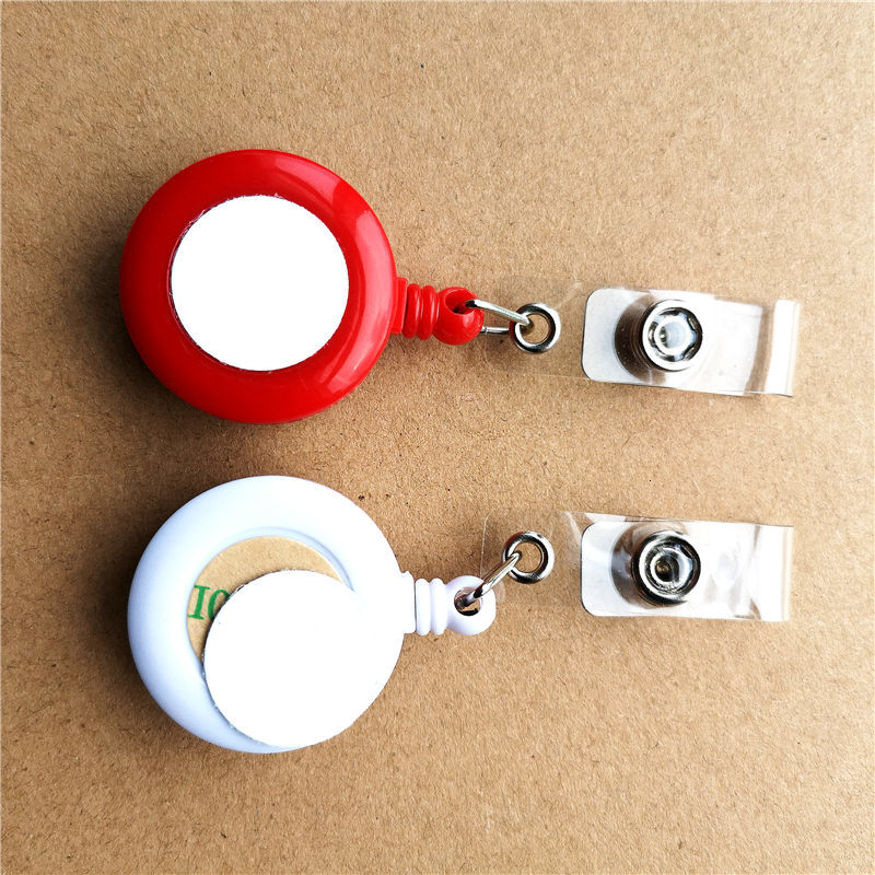 new arrival sublimation blank plastic retractable key Chain Holder hot transfer printing blank consumables