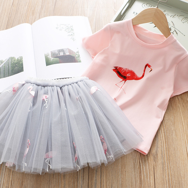 2019 Summer Girl Clothing Sets Kids Embroidered Cartoon Unicorn T-shirt And Rainbow Skirt Suit Fashion Baby Girls Clothes Set (5)