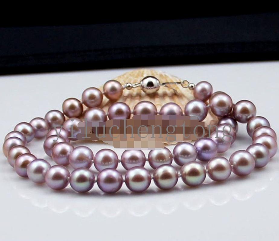 "10mm del Mar del Sur Blanco Rosa Púrpura Multi-Color De Concha De Perla Collar 18/"""