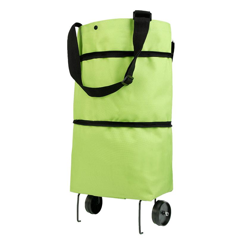 Selotrot Shopping Pieghevole Rimorchiatore Borsa Portatile Multifunzione Grande capacit/à Oxford Totalizzatore Carrello Verde
