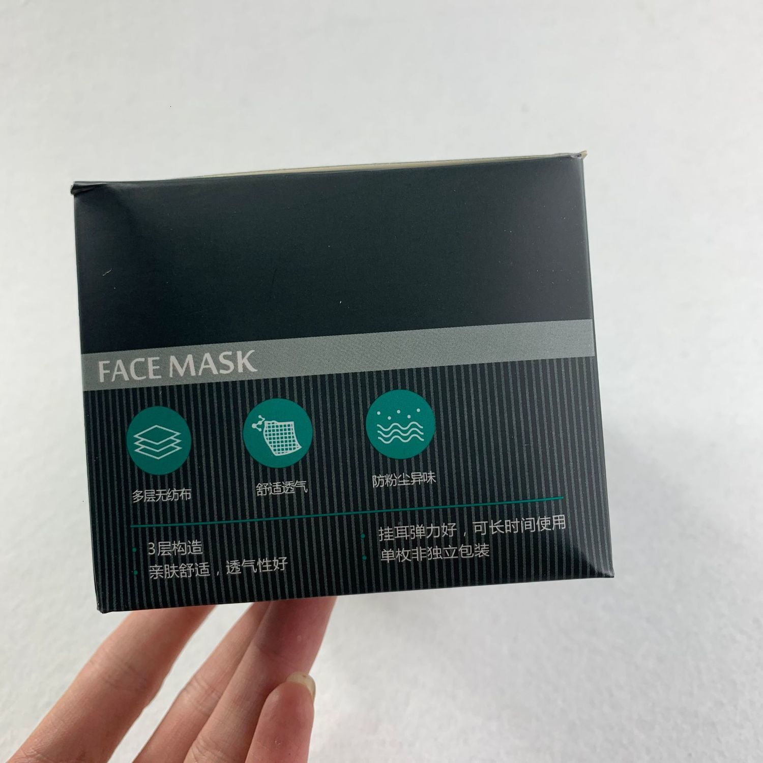 In Stock Black Masks 3 Layers Thickened Meltblown Cloth Disposable Mask Antibacterial Protective Face Masks Anti-pollen Anti-dust
