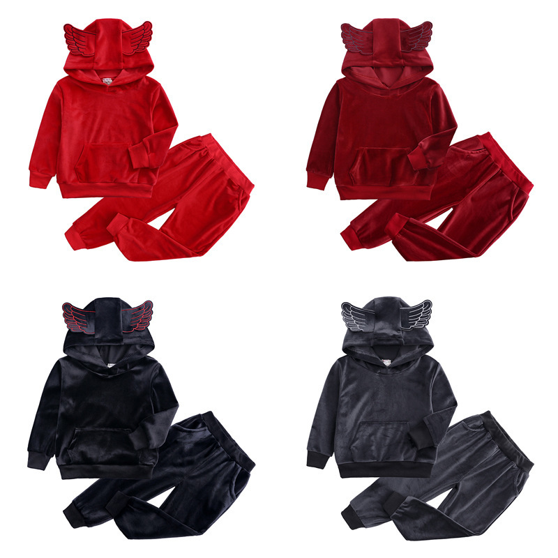 Hoodies Wing pants two piece set for kid boys girls clothes Velvet toddler costume 2019 outfits children tracksuit baby clothing