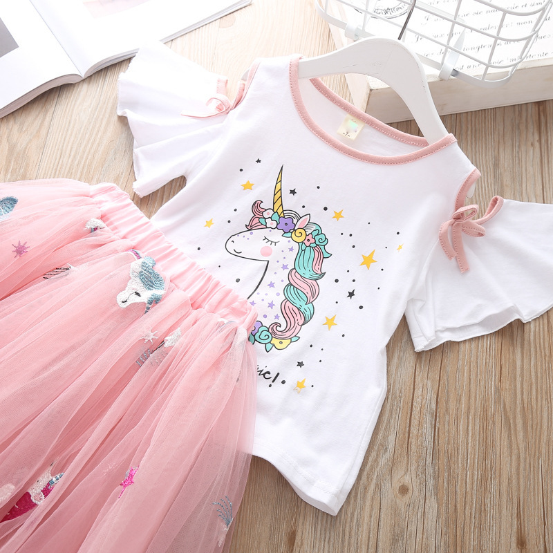 Summer Children`s Clothing Sets Girls Embroidered Cartoon Unicorn T-shirt And Rainbow Skirt Suit Kids Short Sleeve Clothes Sets (3)