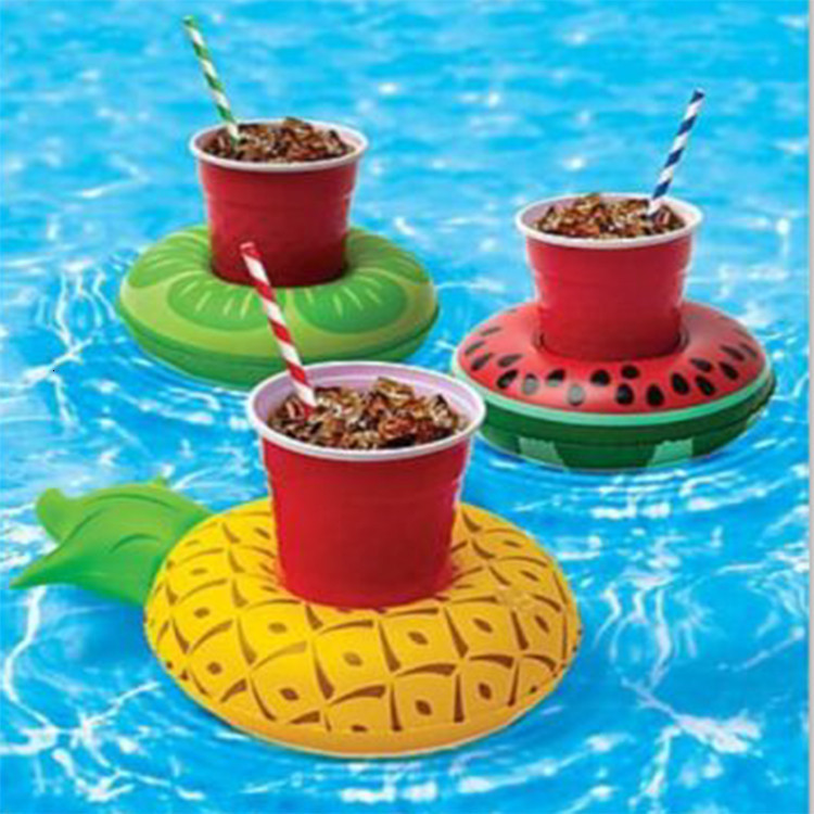 Donut Pool Drink Holder Floats Pineapple Watermelon Kiwi Floating Inflatable Cup Holders for Pool Party Decorations