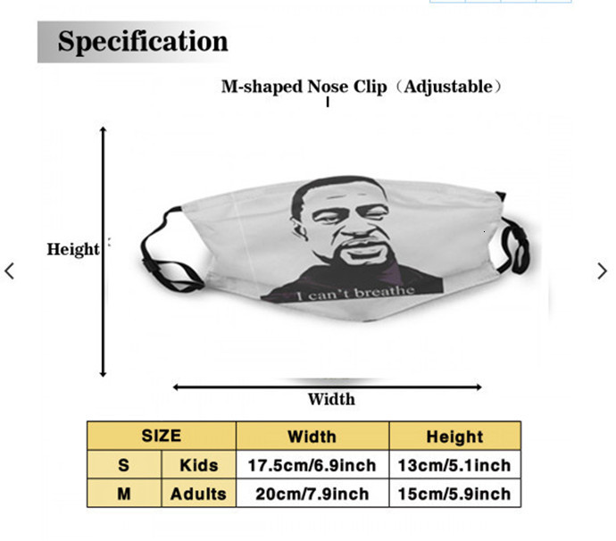 I Cant Breathe Cycling washable adjustable reusable mask assembly Party safe outdoor sports dust proof breathable Face masks Tools printing