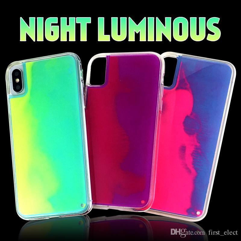 Liquid Quicksand Hybrid Soft TPU Hard PC Case For iPhone 11 Pro Max 11 Pro XS MAX XR 7 8 Liquid Night Light Luminous Protection Phone Cover