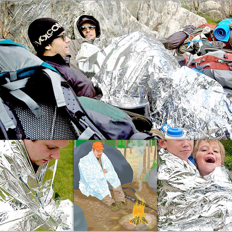 210*160cm Multi-functional Outdoor Camping Waterproof Windproof Pads Survival Insulation Foil Thermal First Aid Blanket Disaster Rescue Tool