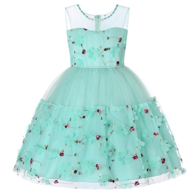 Elegant Pearl Applique Girls Dresses Teenage Princess Birthday Wedding Party Ball Gown Fashion Children Dress For Kids Clothes (7)
