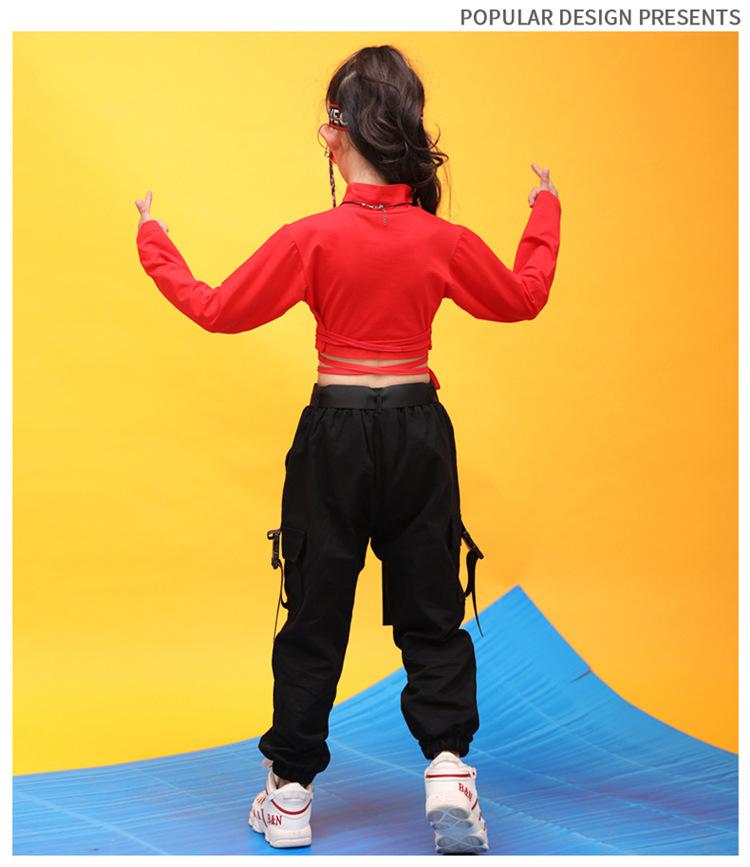 Kids Hip Hop Clothing High Neck Sweatshirt Shirt Top Crop Black Running Casual Pants for Girl Jazz Dance Costume Dancing Clothes (1)