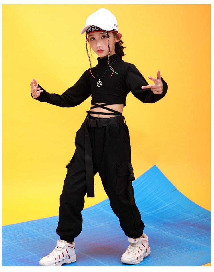 Kids Hip Hop Clothing High Neck Sweatshirt Shirt Top Crop Black Running Casual Pants for Girl Jazz Dance Costume Dancing Clothes (11)