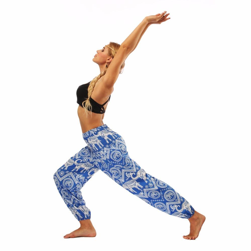 TL009- blue and white elephant wide leg loose yoga pant leggings (6)