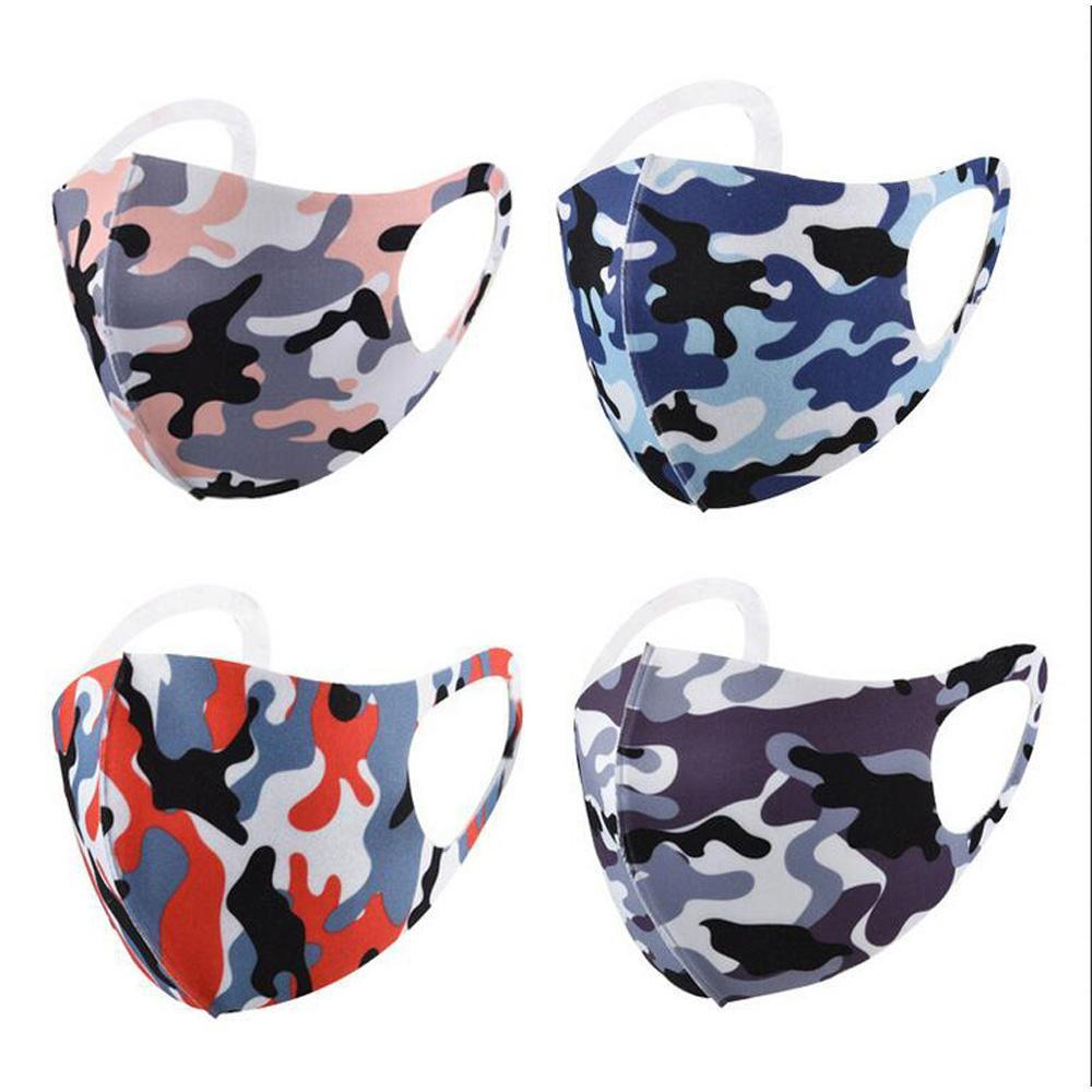 Camouflage Face Masks Protect Anti-dust Wind Ice Silk Cotton Mouth Mask Washable Breathable Cyling Bicycle Protective Camo Black Package m