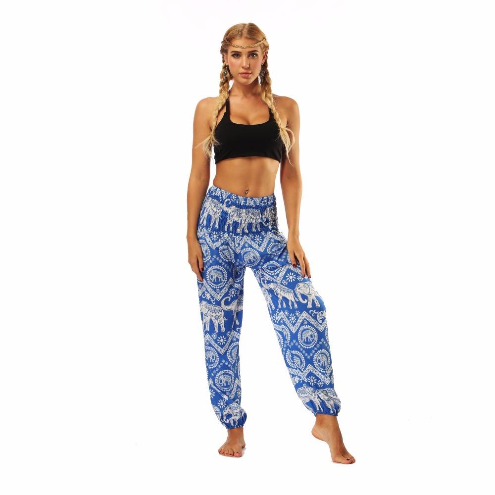 TL009- blue and white elephant wide leg loose yoga pant leggings (2)