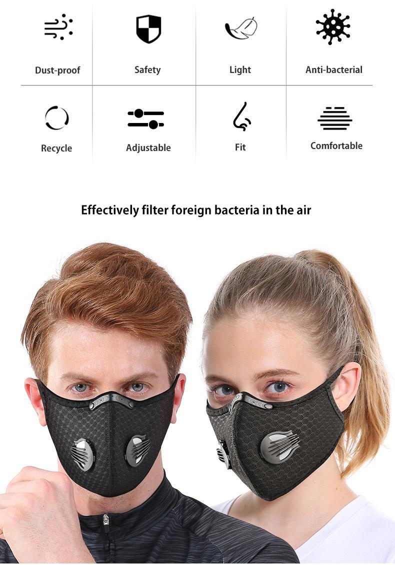 US Stock Cycling Face Mask Activated Carbon with Filter PM2.5 Anti-Pollution Sport Running Training MTB Road Bike Protection Dust Caps