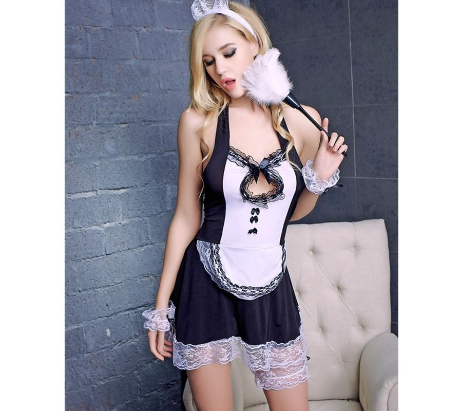 New Exotic Cosplay Uniform Dress Underwear Sexy Halloween Costume Set Women Sexy Lace French Maid sexy costume erotic Lingerie