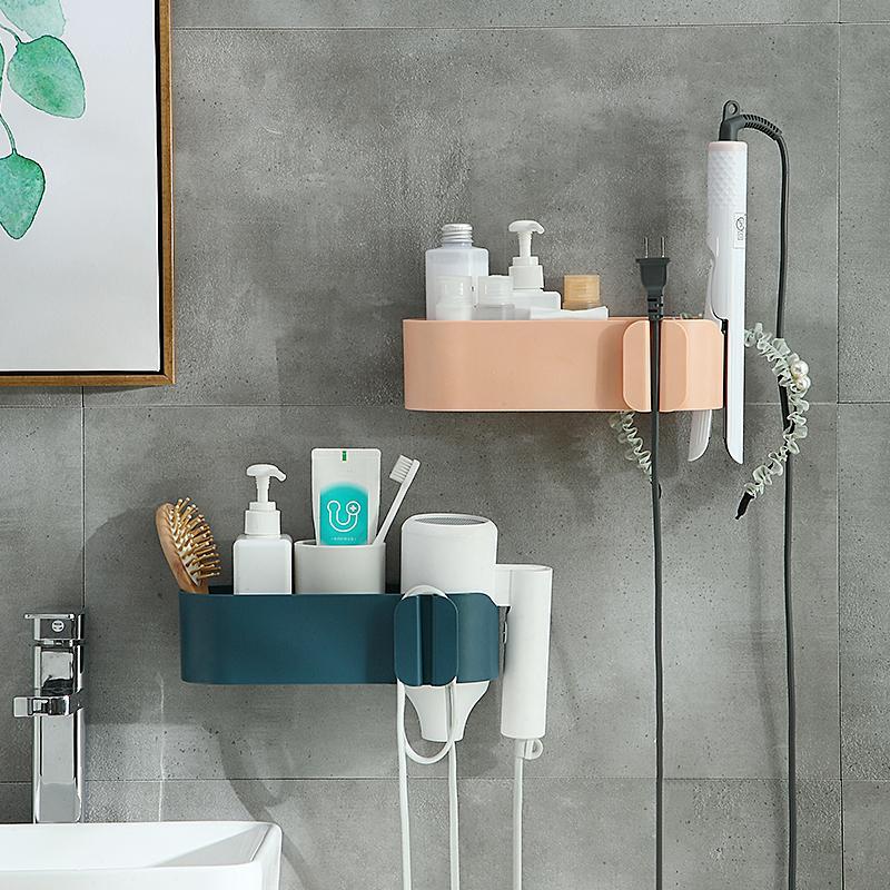 Noir TOPofly S/èche-Cheveux Support Mural pour Auto-Adhesiv Aluminium Polyvalent Toilettes Salle de Bains /étag/ère Bo/îte de Rangement S/èche-Cheveux Rack