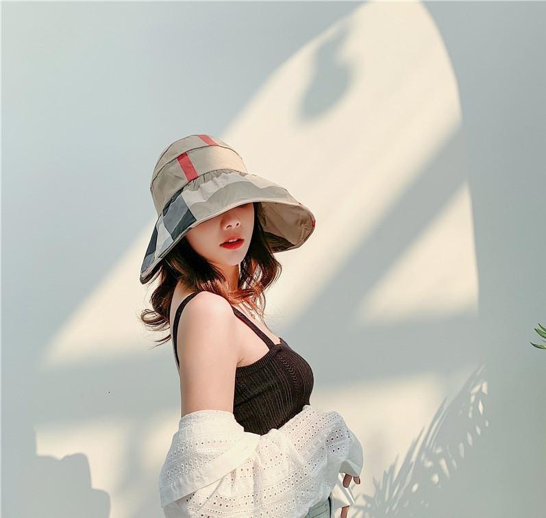 2020 New style plaid fisherman hat Tide female Summer fresh Korean version of joker sunscreen hat Fashional folding sun hat