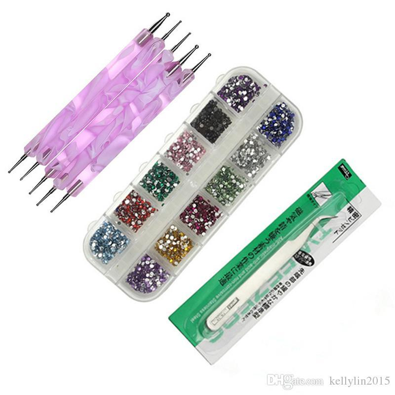 Nail Art Manicure Tools Kit / set Nail Rhinestones Nails Dotting pen with Tweezers for Nail Art Decorations