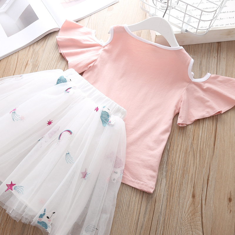 Summer Children`s Clothing Sets Girls Embroidered Cartoon Unicorn T-shirt And Rainbow Skirt Suit Kids Short Sleeve Clothes Sets (7)