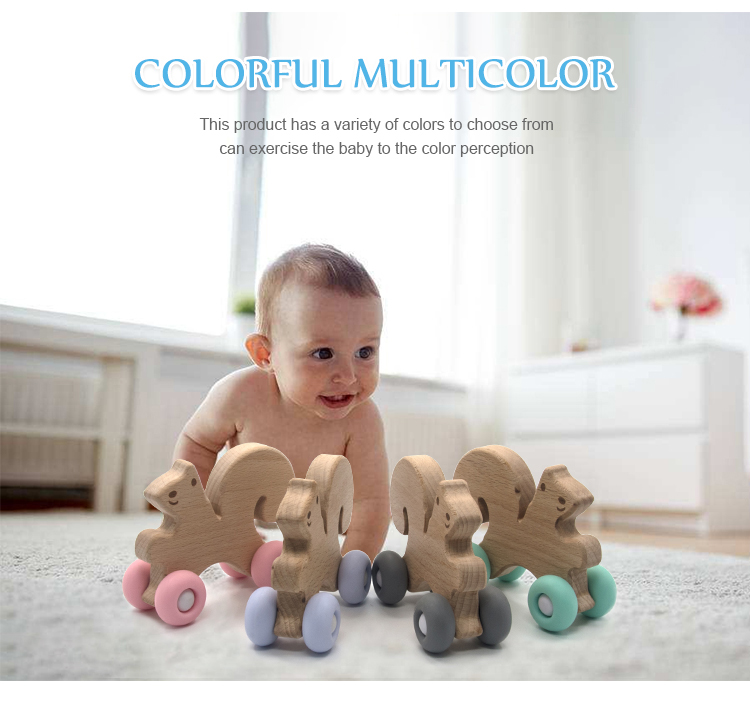 2019 New Funny Baby Toys Food Grad Silicone Teether BPA Free Baby Teether Beech wood