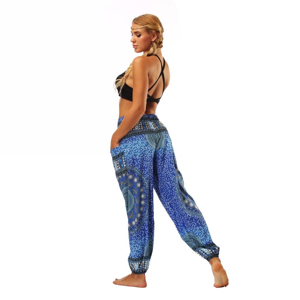 TL007- Blue round circle Thailand style wide leg loose yoga pants leggings (6)