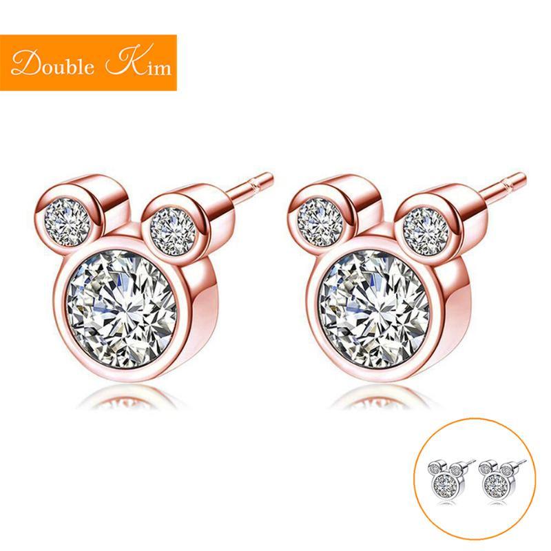 Cartoon Mouse Zircon Stud Earrings Titanium Stainless Steel Earrings Inlaid Zircon Fashion Trendy Women Jewelry