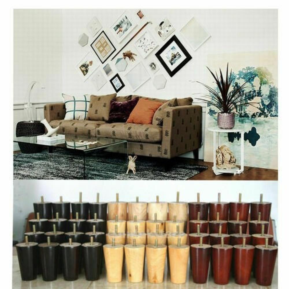 Pack de 4 patas para muebles,pies para elevar o renovar armarios mesitas sof/ás sillones de 4,5 cmts de alto en diferentes colores Natural