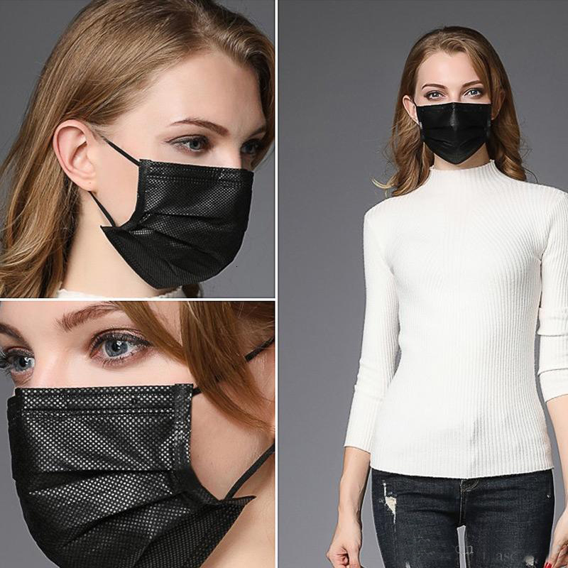 Black Disposable Face Mask for Men Women Anti Dust Cotton Protective Safety 3 layer Covering elastic for mask Home Use disposable masks