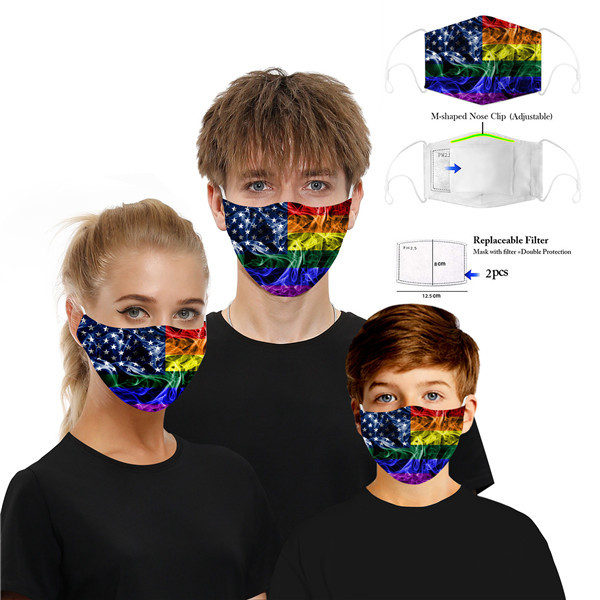 Printed Cotton Party Anime Mask Adult Kids Funny Half Face Mouth Muffle Mask Reusable Anti Dust Windproof Washable Ear Loop Mask FY9119