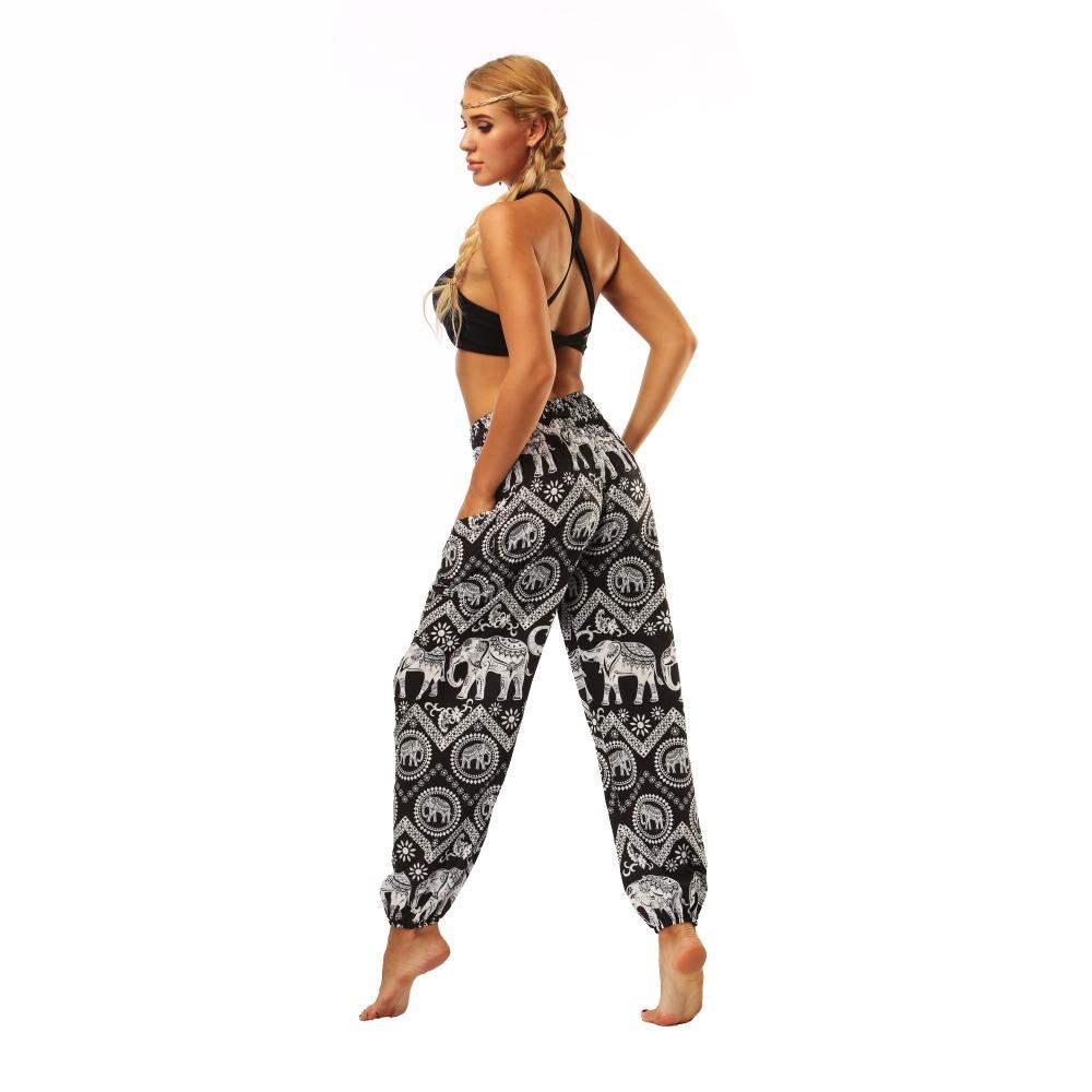 TL008- Black and white elephant wide leg loose yoga pants leggings (6)