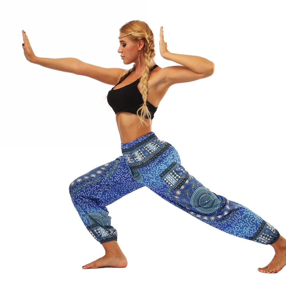 TL007- Blue round circle Thailand style wide leg loose yoga pants leggings (3)