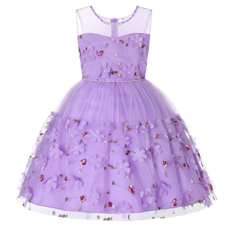 Elegant Pearl Applique Girls Dresses Teenage Princess Birthday Wedding Party Ball Gown Fashion Children Dress For Kids Clothes (1)