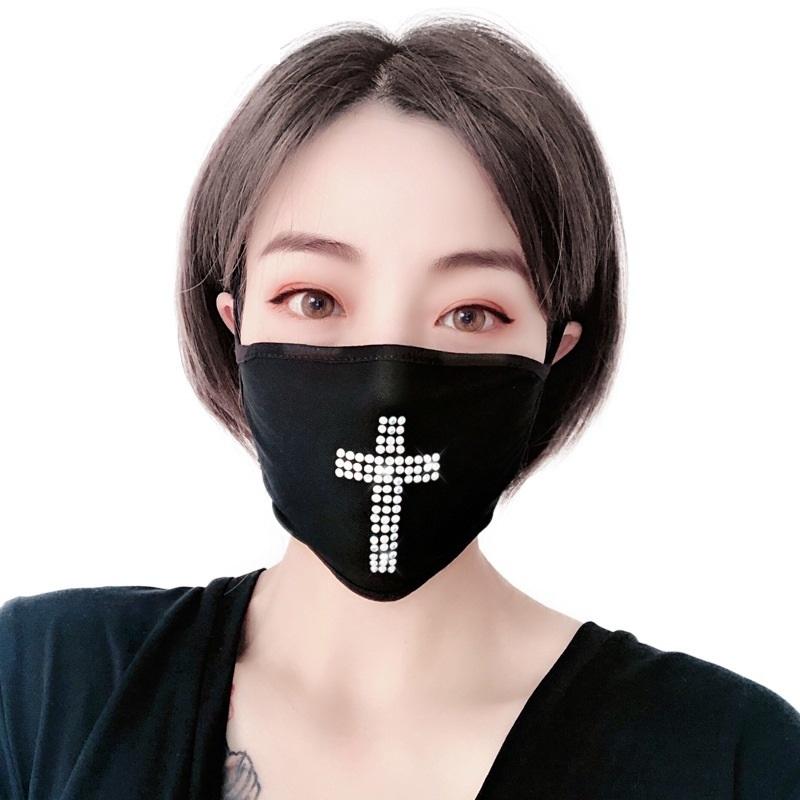 Dustproof Black Flash Drill Rhinestone Cotton Mask Customized for Adult Women Mask Style Hanging Ear Face mask T3I5932