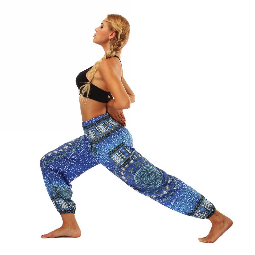 TL007- Blue round circle Thailand style wide leg loose yoga pants leggings (5)