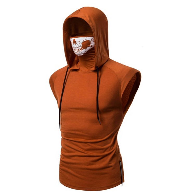 Face Mask T Shirt With Skull Design Patchwork Mens Sleeveless Hooded Sweater Man Sweatshirt Top For Spring Summer Clothing Apparel