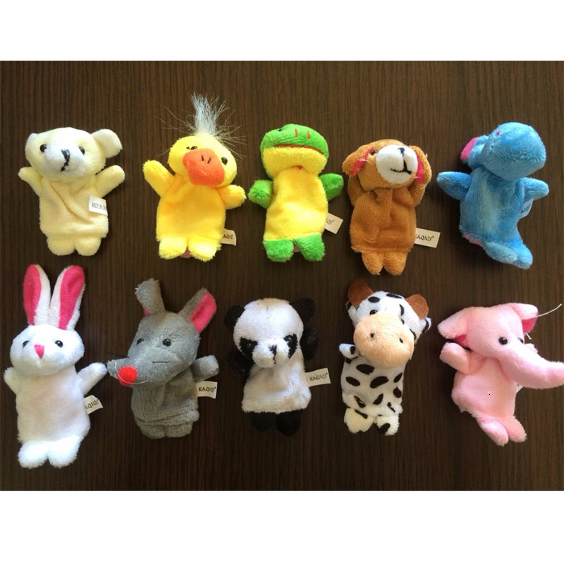 Baby Plush Toys Cartoon Happy Family Fun Animal Finger Hand Puppet Kids Learning & Education Toys Gifts