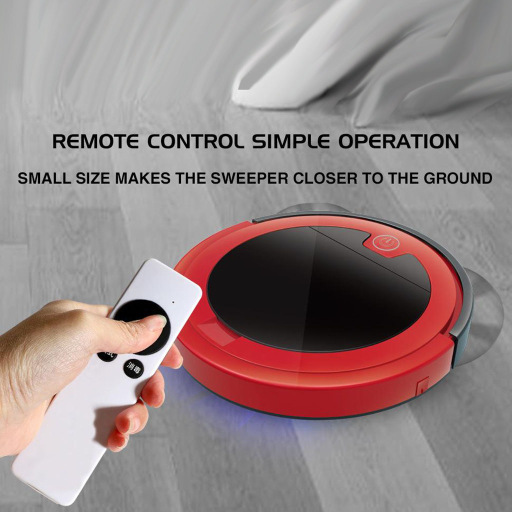 USB Rechargeable Smart Quiet Robotic Vacuum Cleaner, Floor Cleaning Mopping Sweeping for 150㎡, 2000mah Battery Operated